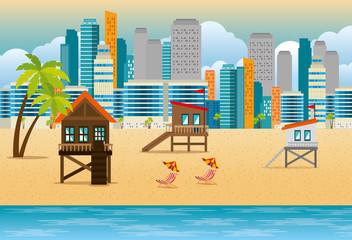 Wall Mural - miami beach cityscape set scenes vector illustration design