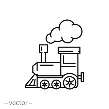 locomotive line icon - vector illustration eps10