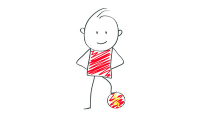 Stick figures: Flat illustration with soccer ball