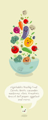 Vegetables kawaii illustration. Multicolored vegetables fly over a large salad bowl. Japanese style. Carrots, beets, cucumber, mushrooms, tomatoes, broccoli, eggplant and onions with smile.