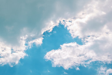 White Clouds on the blue sky. Closeup wallpaper