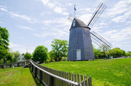 Landscape photograph of a windmill in one of the towns on Long Island, New York.