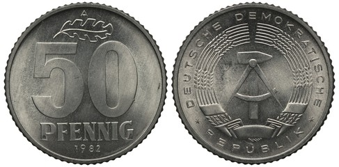 East Germany 50 fifty pfennig 1982, large figures of denomination, oak leaf on top, compass and hammer within stylized wreath of ears with long awns, aluminum, Wall mural