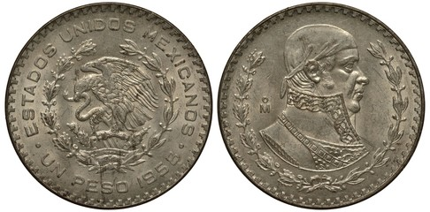 Mexico Mexican silver coin 1 one peso 1958, eagle on cactus catching snake, bust of Hose Maria Morelos y Pavone,