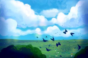 Butterflies in the sunny sky. Digital art.