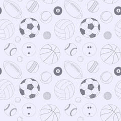 Seamless pattern with set of sport balls. Hand drawn vector sketch. Gray sport items for background. Pattern included