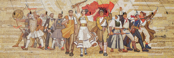 Mosaic above the National History Museum featuring Socialist propaganda and heroic revolutionary, Tirana, Albania.