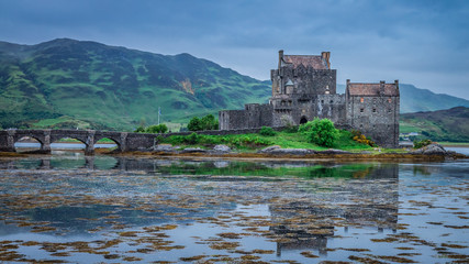 Cloudy sunset at Eilean Donan Castle, Scotland