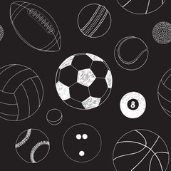 Seamless pattern with set of sport balls. Hand drawn vector sketch. White sport items on black background. Pattern included