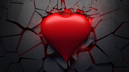 Herz zerstört steinernen Boden