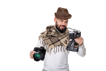 photographer with camera takes photos