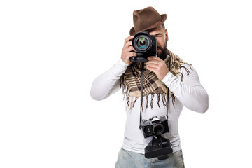 photographer with camera takes photos