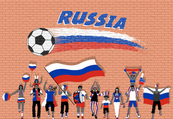 Russian football fans cheering with Russia flag colors in front of soccer ball graffiti