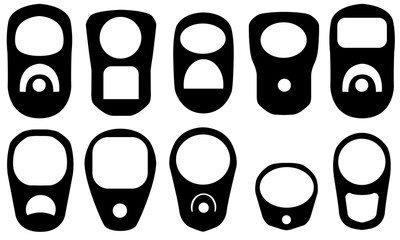 Set of different pull rings isolated on white