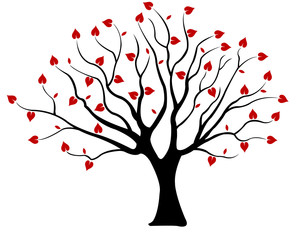Tree with hearts isolated on white
