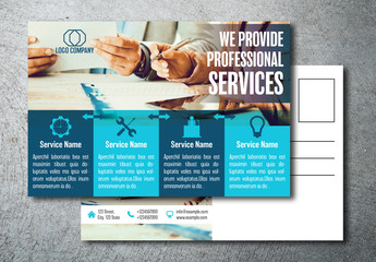 Blue Blocks Business Postcard Layout