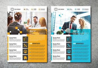 Flyer Layout with Bright Accent Elements