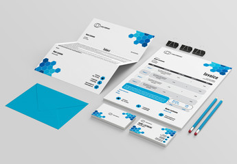 Stationery Layout Set with Hexagonal Design