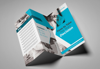 Gray and Teal Trifold Brochure Layout