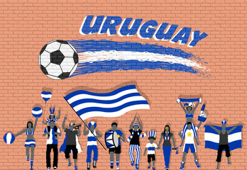 Uruguay football fans cheering with Uruguay flag colors in front of soccer ball graffiti