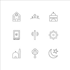 Religion outline vector icons set