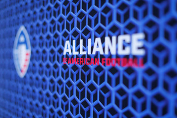 The logo for the Alliance of American Football League is shown at media event at SDCCU Stadium where the new league introduced a team and head coach to San Diego