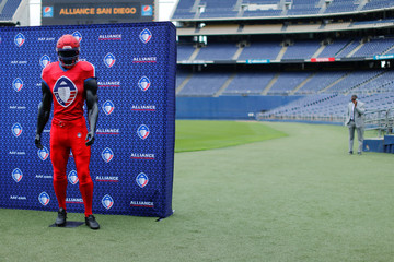 The logo for the AFF League is shown on a football mannequin before the start of a media event at SDCCU Stadium in San Diego