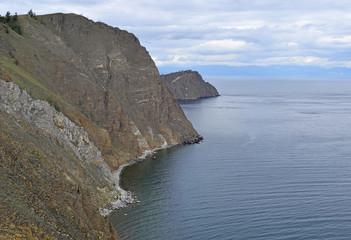 Landscape of high rocks over lake Baikal.