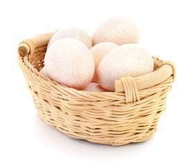 Turkeys eggs in basket.