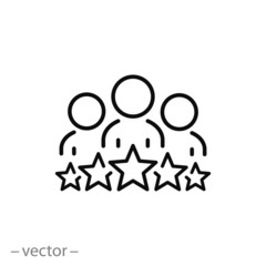 business client icon, people group with 5 stars line sign - vector illustration eps10