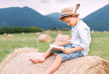 Reading boy sits over the haystack roll on the mountain field
