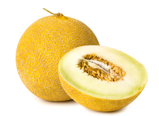 Isolated melon and half on a white, close-up.