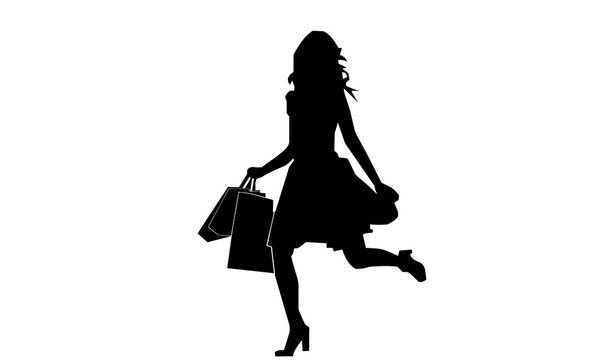 silhouette of a woman was running with a shopping bag