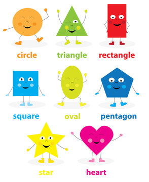 earning collection of funny dancing basic geometric smiling cartoon shapes for children / vectors illustration for kids