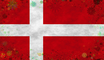 Illustration of a Danish Flag with a flowered frame