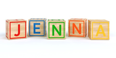 The name jenna written with Isolated wooden toy cubes