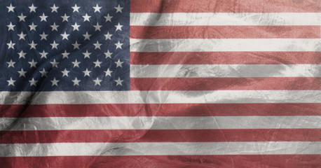Closeup of United States of America Rippled Waving Flag