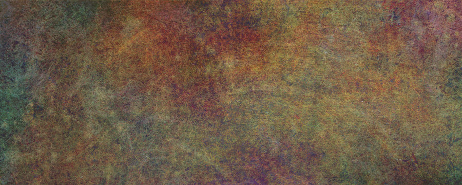 Rusted flat metal sheet Grunge  banner background - textured rough rusty earthy multi coloured wide banner ideal for a grunge background