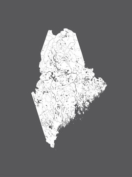 Map of Maine with lakes and rivers.
