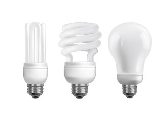 Set of 3 energy saving bulbs on white background