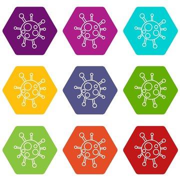 Chlamydia virus icons 9 set coloful isolated on white for web