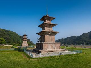 Stone pagodas, Gameunsa Temple Site, Gyeongju, Korea