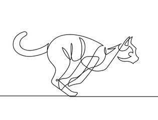 Deurstickers One Line Art Jumping Cat Continuous Line Vector Illustration