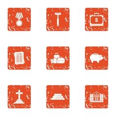 Mercenary icons set. Grunge set of 9 mercenary vector icons for web isolated on white background