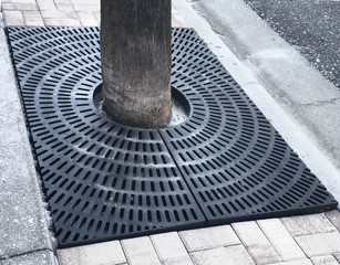 Recessed tree grill tray . Photo image