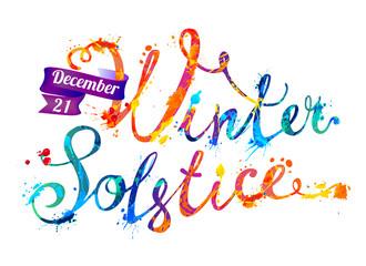 Winter solstice. December 21. Splash paint