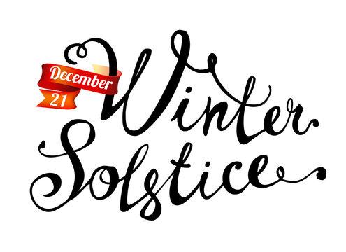 Winter solstice. December 21. Hand written word on white background