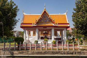 A smaller building at the Wat Benchamabophit temple complex, Bangkok, Thailand