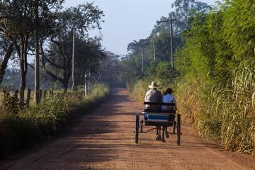 Wagon on the dirt road toward the horizon