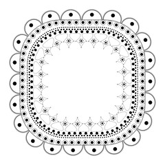 Indian Filigree Dotted Ornament - Vector Delicate Oval Frame